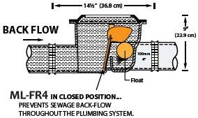 Back-flow through a Mainline brand automatic Fio ML-FR4 back-flow valve